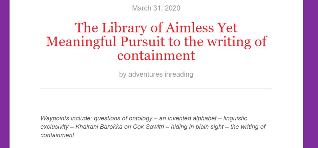 Adventures in Reading #3